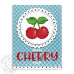 CupcakeShapeCherryGinghamCard-