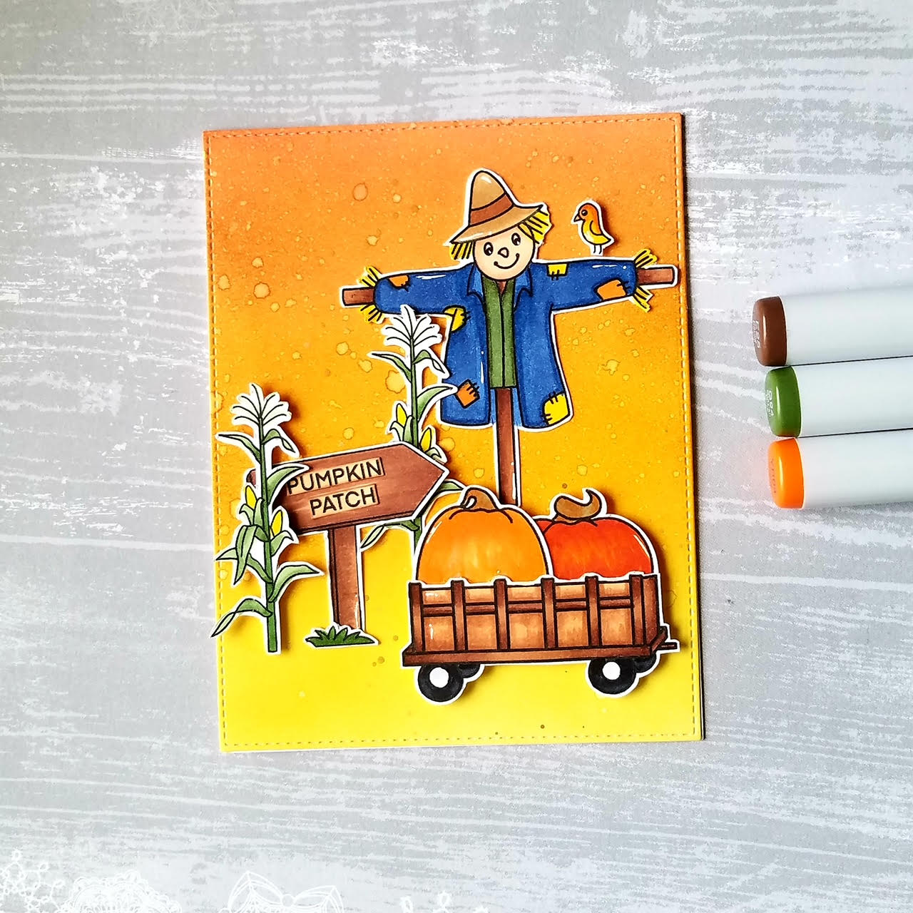 Fall Card Using Digital Stamps From August Release